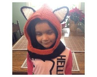 Children's Fox Hooded Cowl Orange White Black