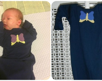 Baby nightshirt 0-5M navy with blue and yellow butterfly Girls 100% cotton fold over cuff and elasticated bottom - New Mum gift