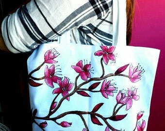 Tote, Cherry Blossoms Shoulder Bag, Hand Painted
