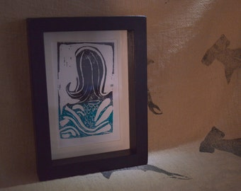 Nautical Mermaid Block Print. Blue and Black Mermaid Lino Block Print. Original Mermaid Print