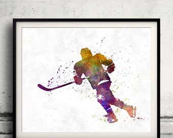 Hockey skater with stick in watercolor - INSTANT DOWNLOAD 8x10 inches poster watercolor wall art splatter sport illustration print- SKU 1635