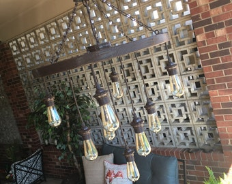 Wagon Wheel Chandelier with Vintage Bulbs