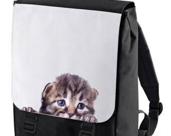 Peeking Kitten Backpack Bag perfect for school Bagbase)
