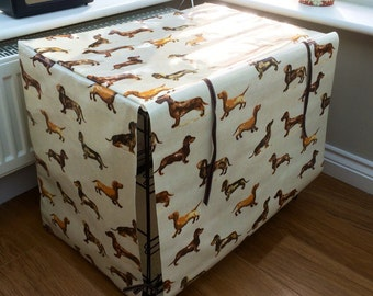 Medium Crate Cover - Dachshund Dog Crate Cover - Daxi Crate Cover - Sausage Dog Crate Cover - Dog Crate Cover - Custom Crate Cover