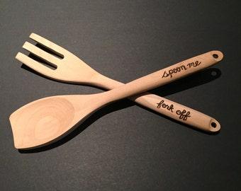 Fork Off & Spoon Me Serving Set - Novelty Utensils - Gift Set
