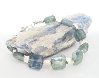 Silver Plated Square Kyanite Bracelet