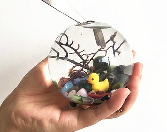 "Aquarium kit with 3"" footed glass vase/cat eyes gravel/sea fan/yellow duck-underwater terrarium,green gifts"