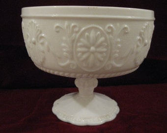 """Ornate 1970s White MILK GLASS Pedestal COMPOTE 5.5""""H Bowl Planter Very Pretty Texturized Background Floral Pattern Roping Scalloped Base 292"""
