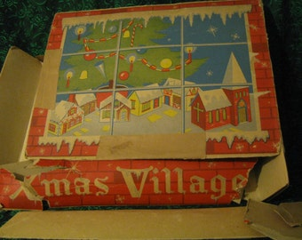 "AWESOME Set IOB 1950 Light Up Heavy Cardboard ""Xmas Village"" Christmas House Putz Train Display, Colmor Happitime Product Sear Roebuck 361"