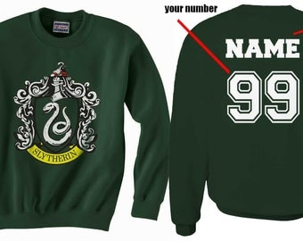 Custom on back Slyth Crest #1 on Forest green Crew neck Sweatshirt