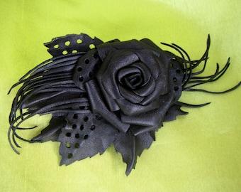 Black Rose Brooch leather, Black flower Brooch leather, Black Rose Brooch, leather brooch Black Rose, mothers day gift, Gothic brooch Rose