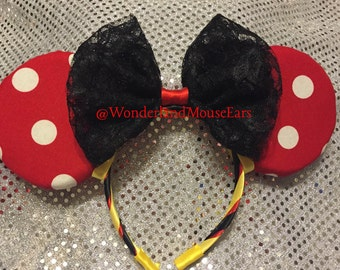 Polka-dot Minnie inspired ears with lace bow.