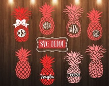 Preppy pineapple group svg file, split pineapple monogram, cut file