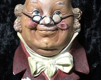 Mr. Pickwick Chalkware Head Wall Plaque Bossons England 1964.