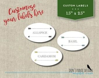 Oval Printable Spice Jar Labels - Cute Arrow Oval Spice Jar Labels - DIY  Home Organizing - Custom Labels
