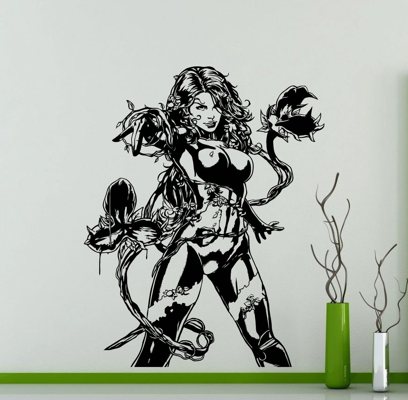 poison ivy wall sticker dc marvel comics movie superhero vinyl. Black Bedroom Furniture Sets. Home Design Ideas
