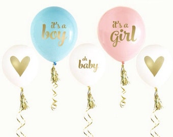 GENDER REVEAL balloons-set of 6-It's a Boy, It's a Girl balloons, baby shower balloons, gender reveal baby shower