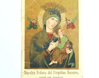 Antique Holy Prayer Card Our Mother of Perpetual Help c1880 Pope Leo XIII