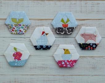 Farm Life - a paper piecing hexagon pattern