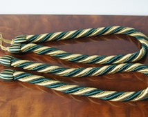 Pair french vintage thick rope curtain tie backs Green Gold curtain tie ropes Passementerie