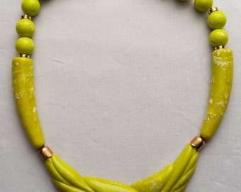 Green Lucite Necklace Mid-Century Modern