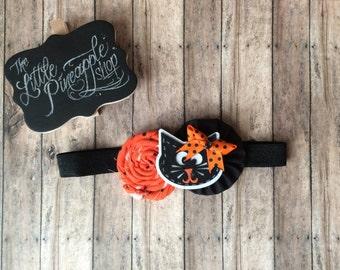 Orange and black Halloween kitty rosette headband