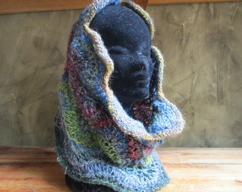 "Snood maxi lace collar hand knit ""Noro"""