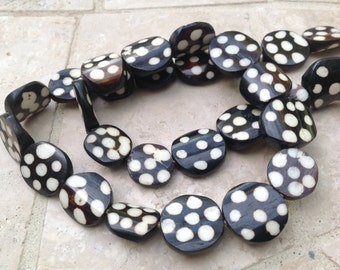 Polkadot Batik Cow Bone African Beads from Kenya