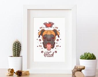 Custom pet portrait. Custom pet illustration. Custom portrait. Whimsical portrait. Dog art. Dog print. Personalized pet. Pet portrait.