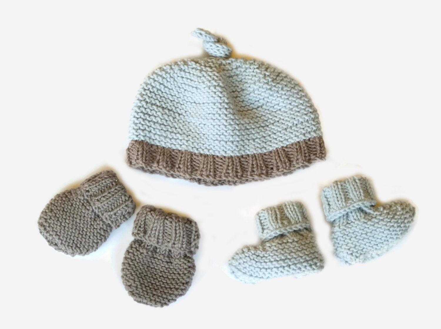 Knitting Pattern For Baby Hat And Mittens : Easy Knitting Pattern: baby hat booties & mittens by SprogletsKits