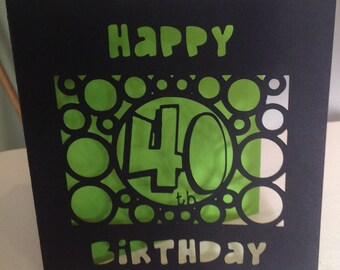 Paper cut 40th birthday card - choose your colour