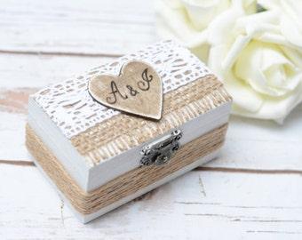 Wedding Ring Box Rustic Ring Holder Personalized Ring Bearer Pillow Woodland Wedding Bear
