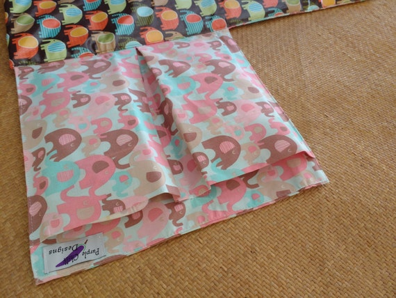 Nappy Wallet  with waterproof Change Mat - three or two pockets - Elephant Splash packed - pink