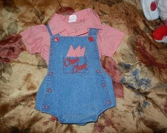 2 Piece infants overall short set