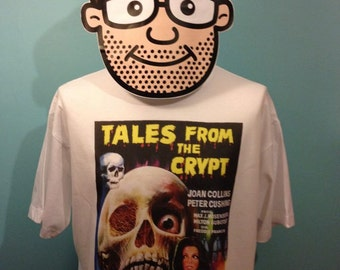 Tales From The Crypt - Peter Cushing / Joan Collins - Cult Horror Film T-Shirt (Amicus) - White Shirt