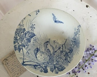 Vintage French cake stand with birds and butterflies
