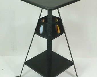 vintage FLOWER STAND floral table etagère art nouveau black iron  1910