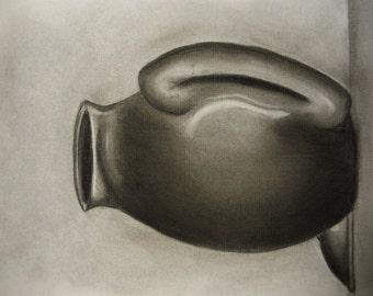 Vase Charcoal Still Life Print