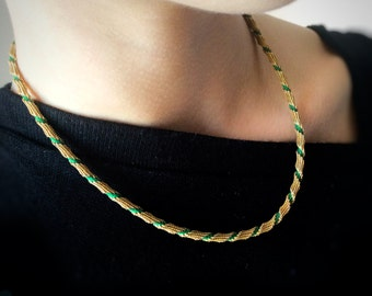 Vintage FRENCH mid-century short gold and green necklace, 1940s Mad Men style | original necklace | Retro green necklace | special occasion