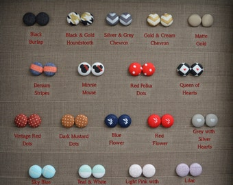 Adorably Comfortable Fabric Button Earrings~Size 5/8 in