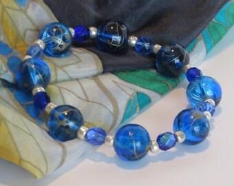 Blue Bead Bracelet / Blue and Silver Bead Bracelet / Blue Bracelet / Stretchy Beaded Bracelet - Fantastic 114