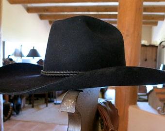 BAILEY COWBOY HAT, Black 5X Beaver Felt, Size 6 3/4, Excellent Condition