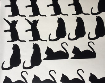 15 Cats Vinyl Stickers, Cat Gift Wrap Stickers, Cat Silhouette Sticker,  Envelope Cat Part 48