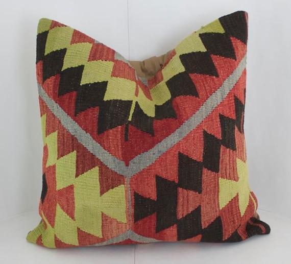 Kilim Rug Throw Pillows : 24x24 Kilim Fabric Pillow Turkish Rug Pillow Bohemian Pillow