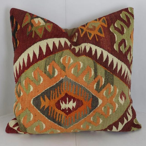 Gold and Maroon 24x24 Decorative Kilim Floor Cushion Accent