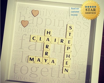 scrabble word gifts, scrabble gifts, scrabble wall art, scrabble mr and mrs, scrabble, scrabble art frame, scrabble letters, scrabble art