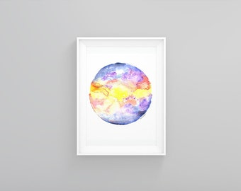 Planet art print Galaxy home decor Watercolor Minimalist Geometric wall art Planet printable Instant download Space Wall hanging