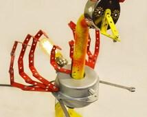Robot, night light, robot sculpture, Heartless, Assemblage art sculpture, Recycled Materials, Found Object Art,Steampunk light,HooverBots