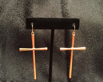 Goldtone High Polish Cross Earrings