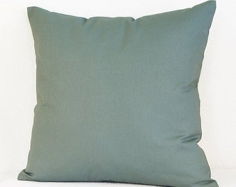 Sage Green Pillow Cover with Zipper Closure, Twill Pillow Cover in Green Blue Sage
